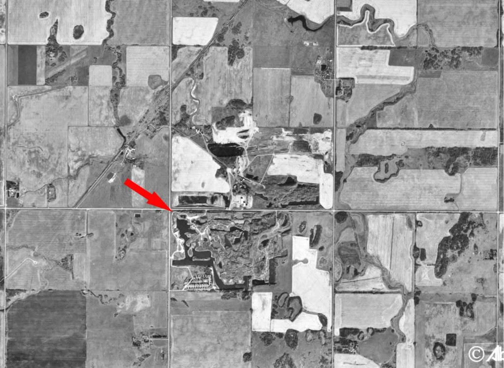 Aerial photo pointing out the Black Nugget Lake quarter section among surrounding sections.