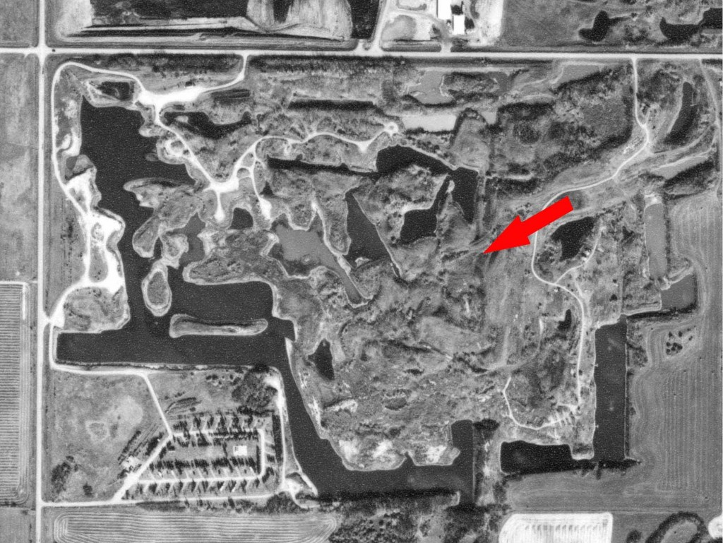 Aerial photo pointing out the hilly elevated area along the eastern boundary of the quarter section