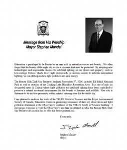 Congratulatory Letter from Edmonton Mayor Mandel on the Beaver Hills DSP.
