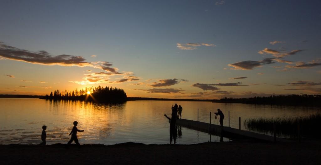 Sunset at Astotin Lake. by Sharon Morsink.