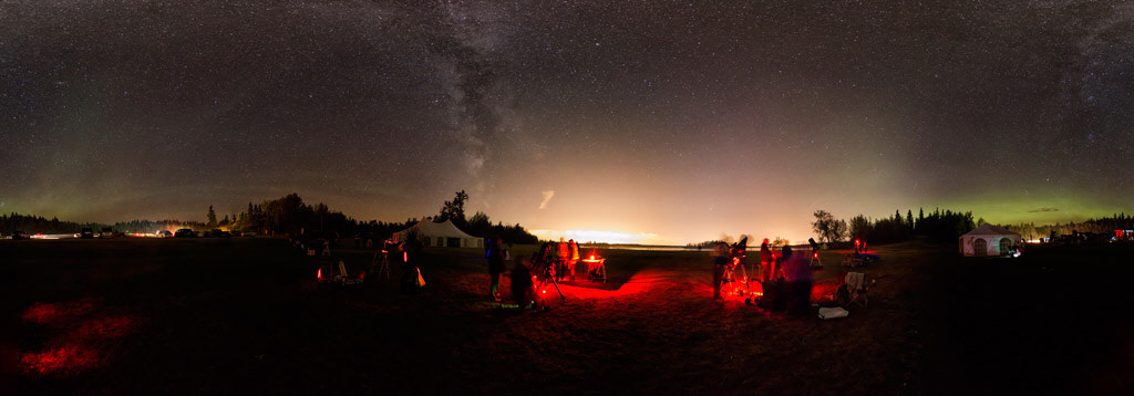 Beaver Hills Dark Sky Preserve 2014 Star Party Panorama by Warren Finlay. CLICK to open.