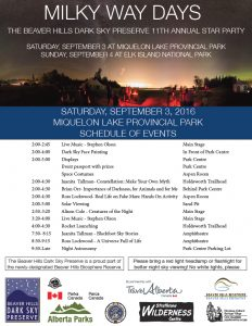 20160903 Star Party Miquelon Lake Schedule